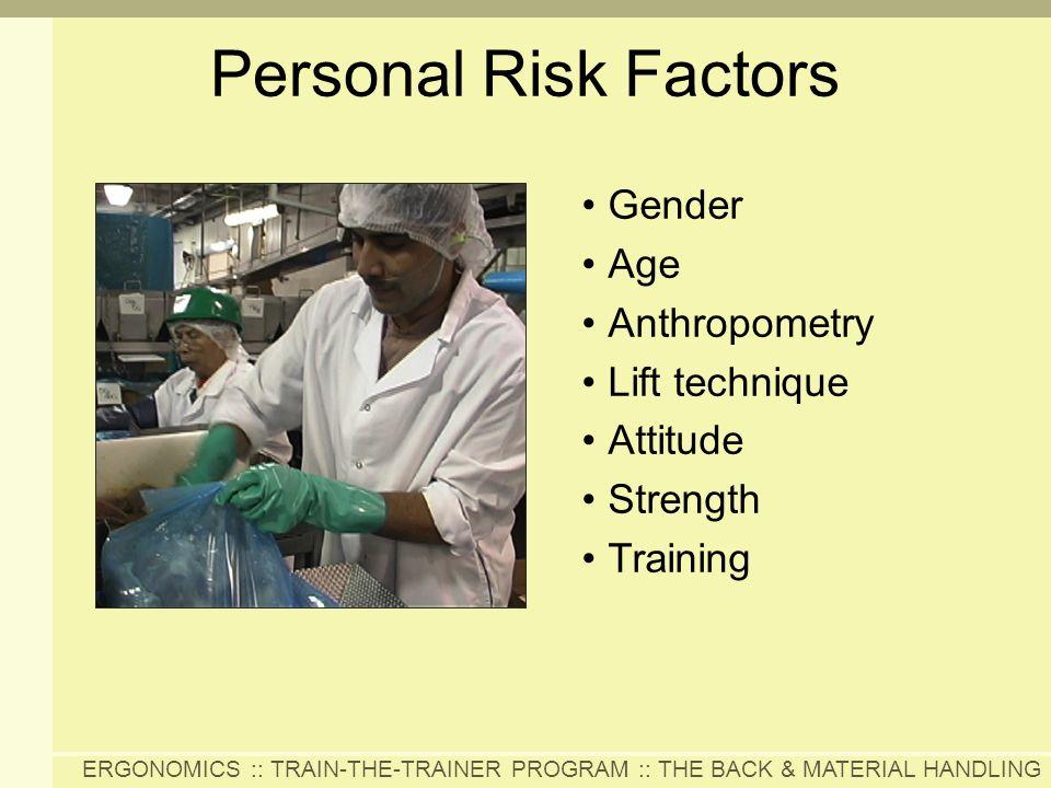 Personal Risk Factors Gender Age Anthropometry Lift technique Attitude
