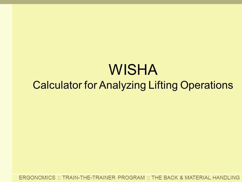 WISHA Calculator for Analyzing Lifting Operations