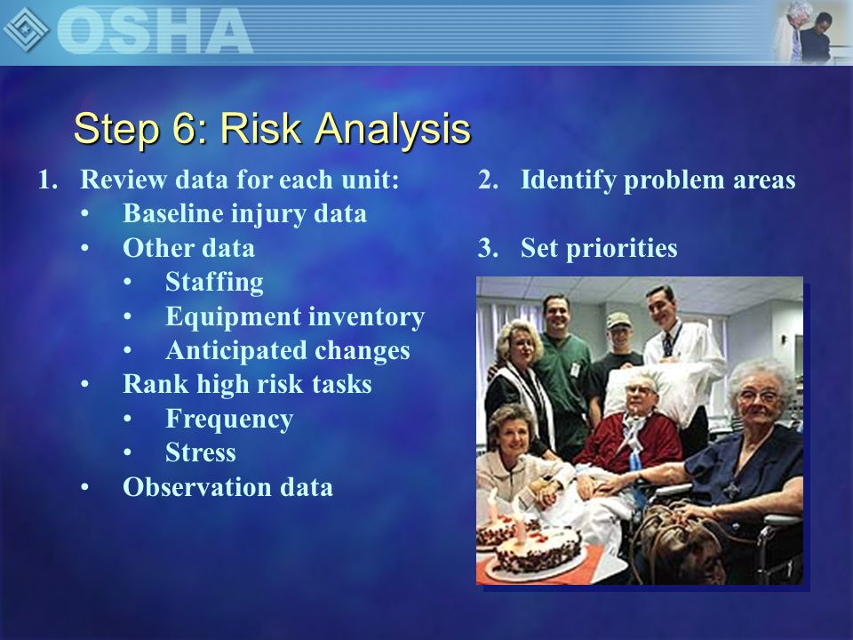 Step 6: Risk Analysis Review data for each unit: Baseline injury data