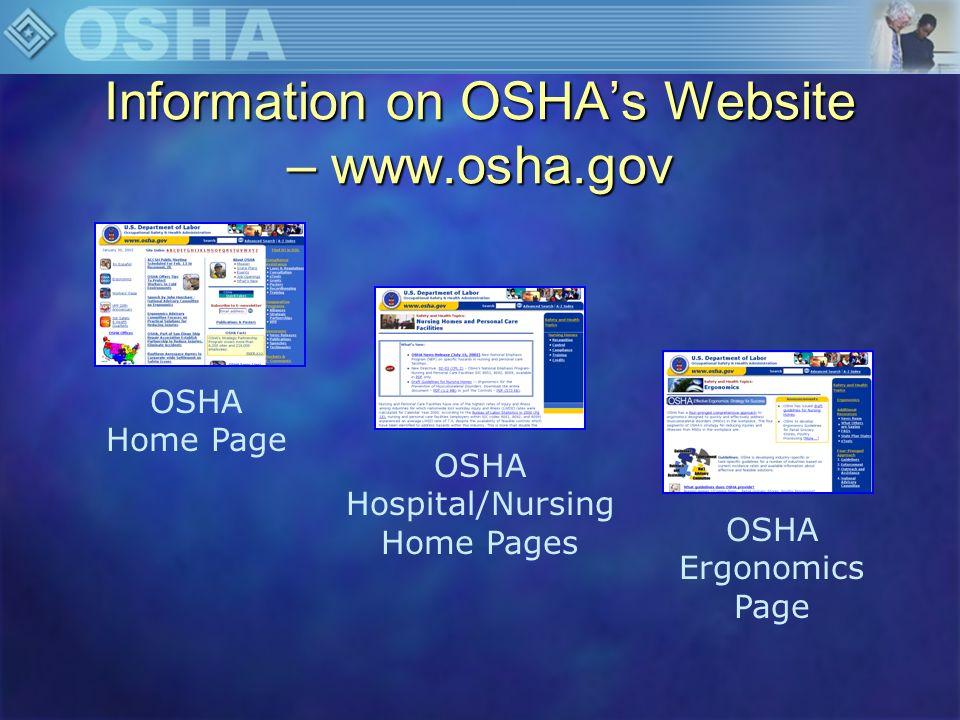 Information on OSHA's Website – www.osha.gov
