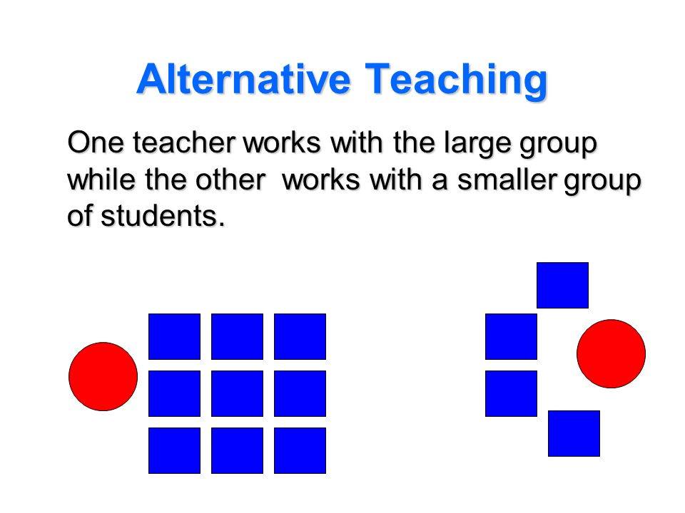 Alternative Teaching One teacher works with the large group while the other works with a smaller group of students.