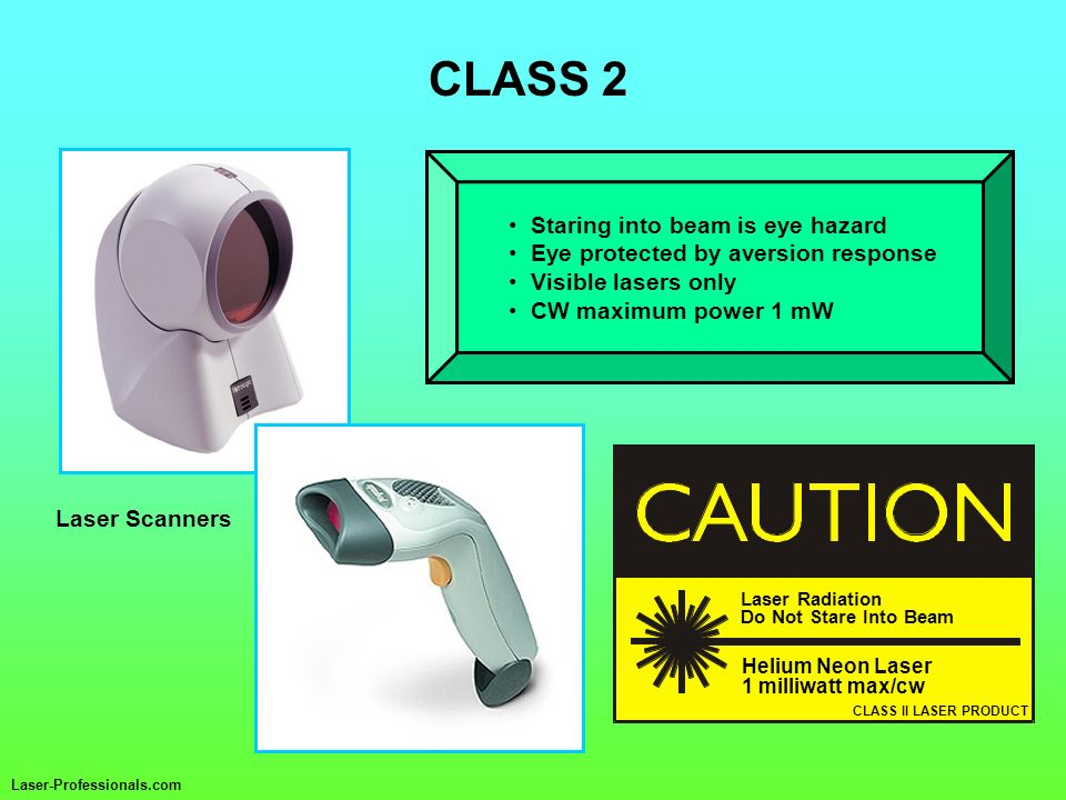 CLASS 2 Staring into beam is eye hazard