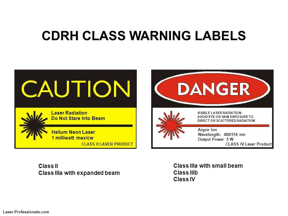 CDRH CLASS WARNING LABELS