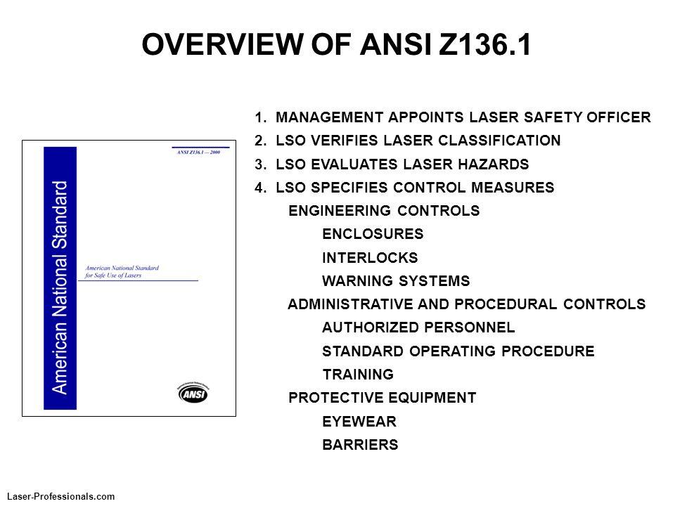 OVERVIEW OF ANSI Z136.1 1. MANAGEMENT APPOINTS LASER SAFETY OFFICER