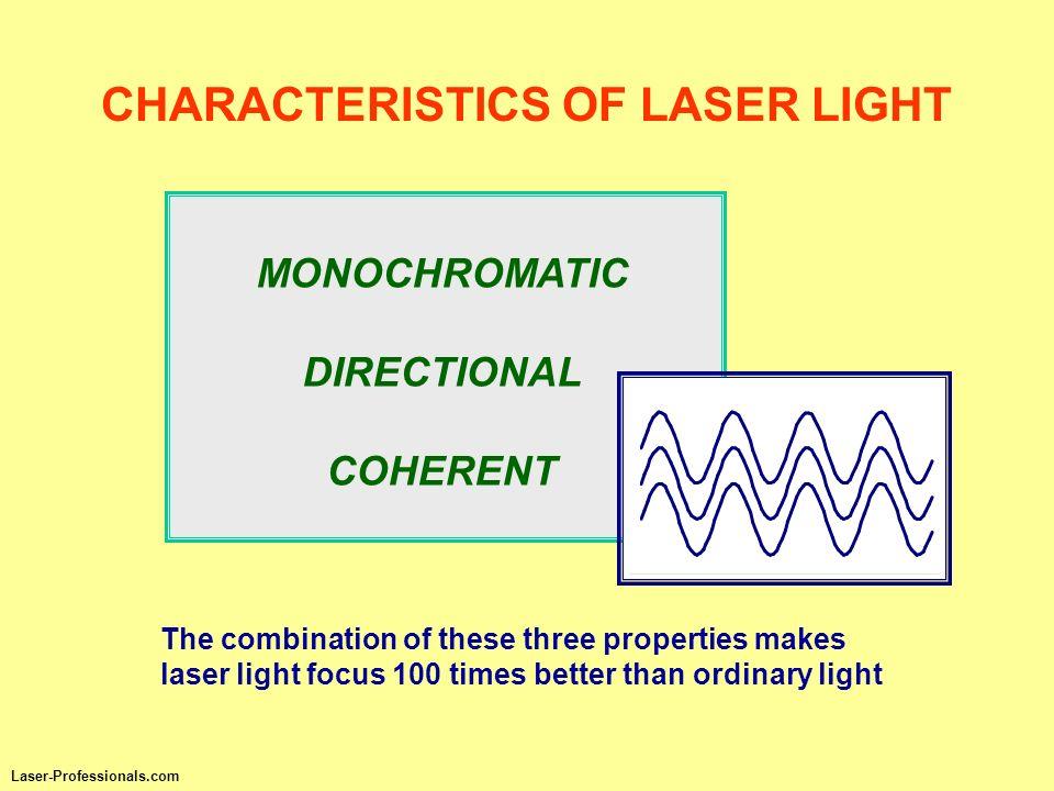 CHARACTERISTICS OF LASER LIGHT