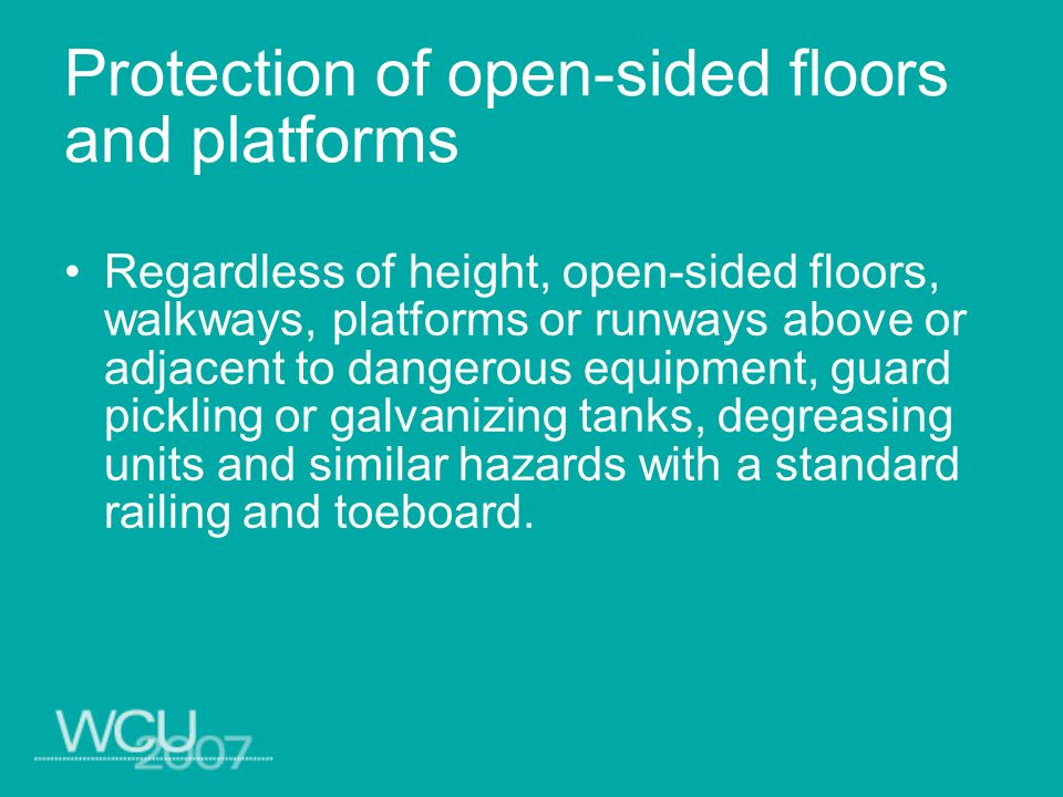 Protection of open-sided floors and platforms
