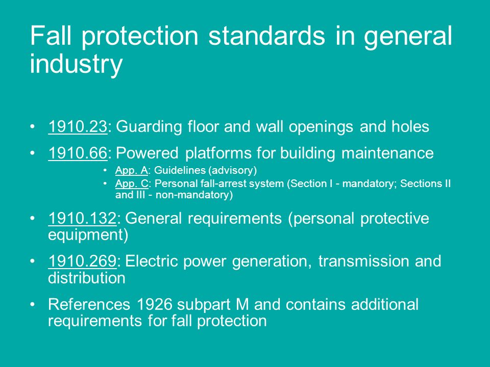 Fall protection standards in general industry