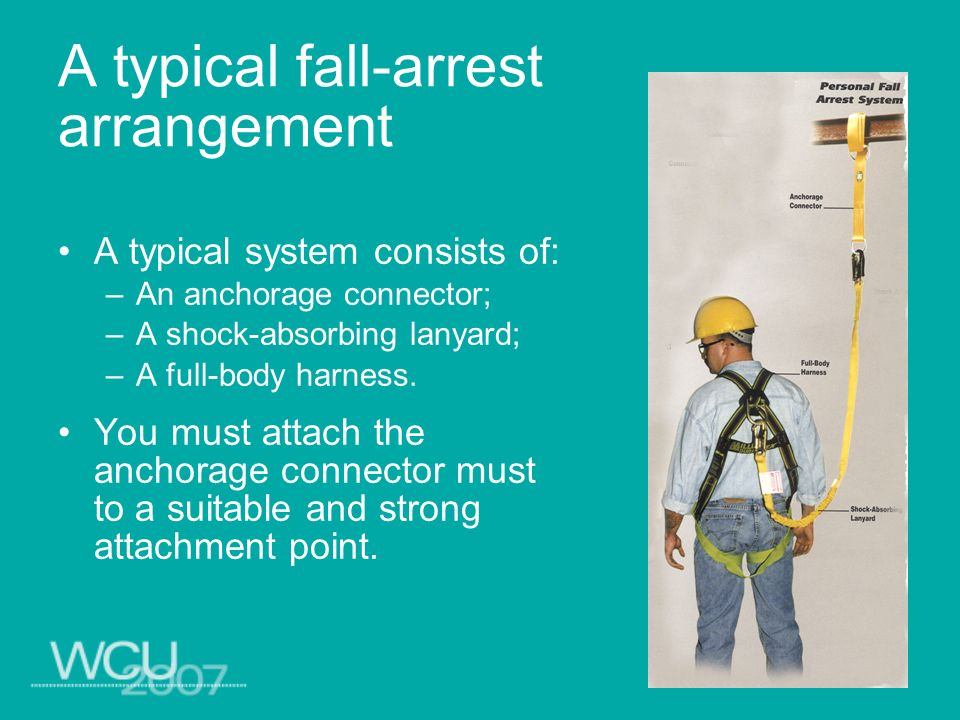 A typical fall-arrest arrangement