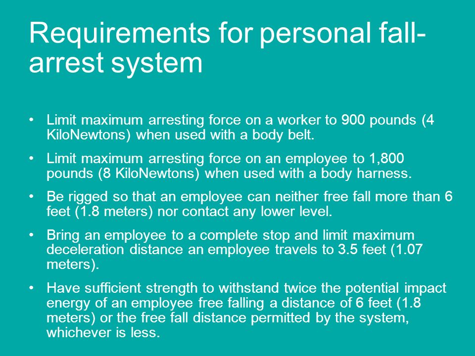 Requirements for personal fall-arrest system