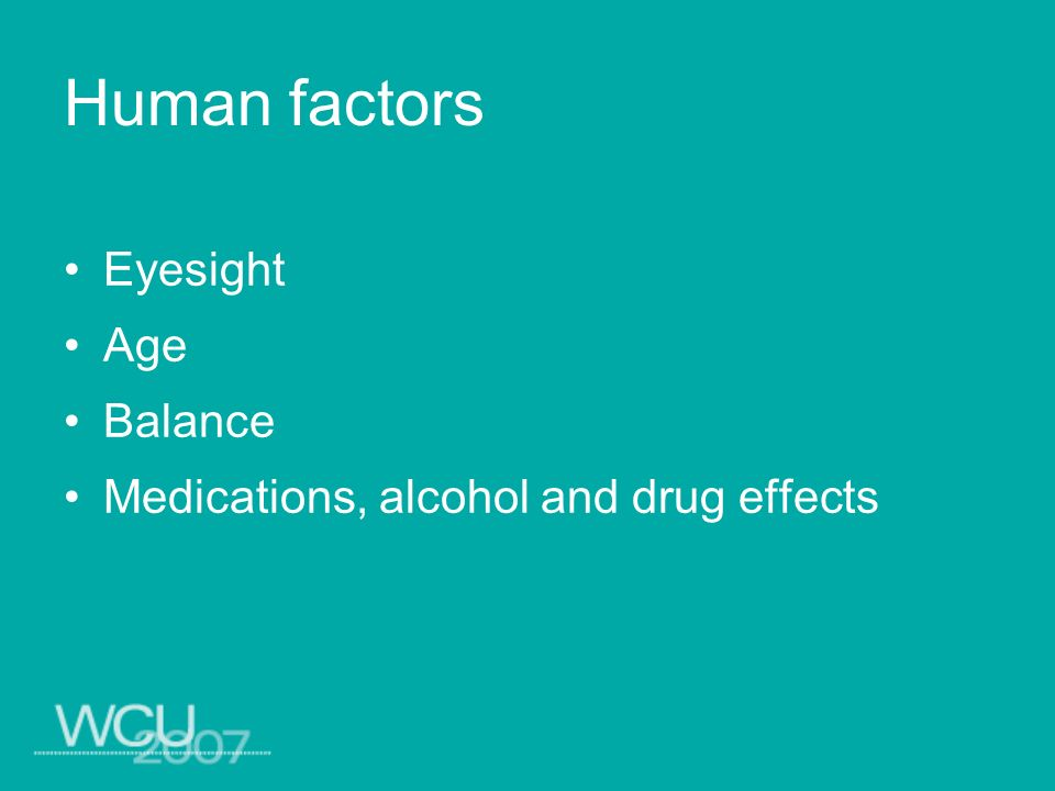 Human factors Eyesight Age Balance