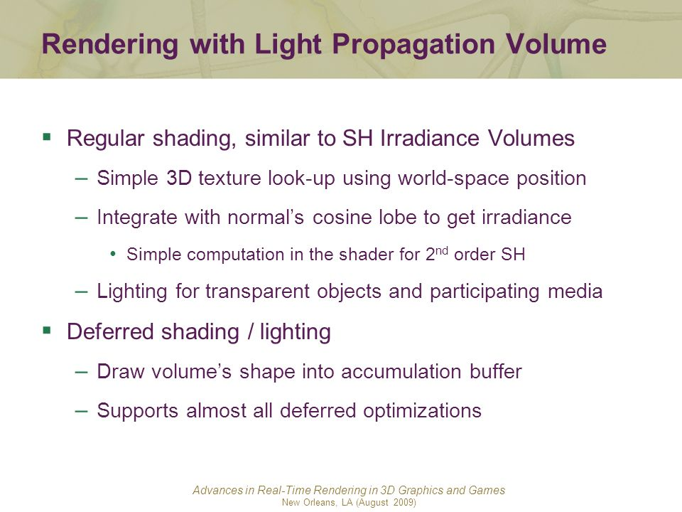 Rendering with Light Propagation Volume