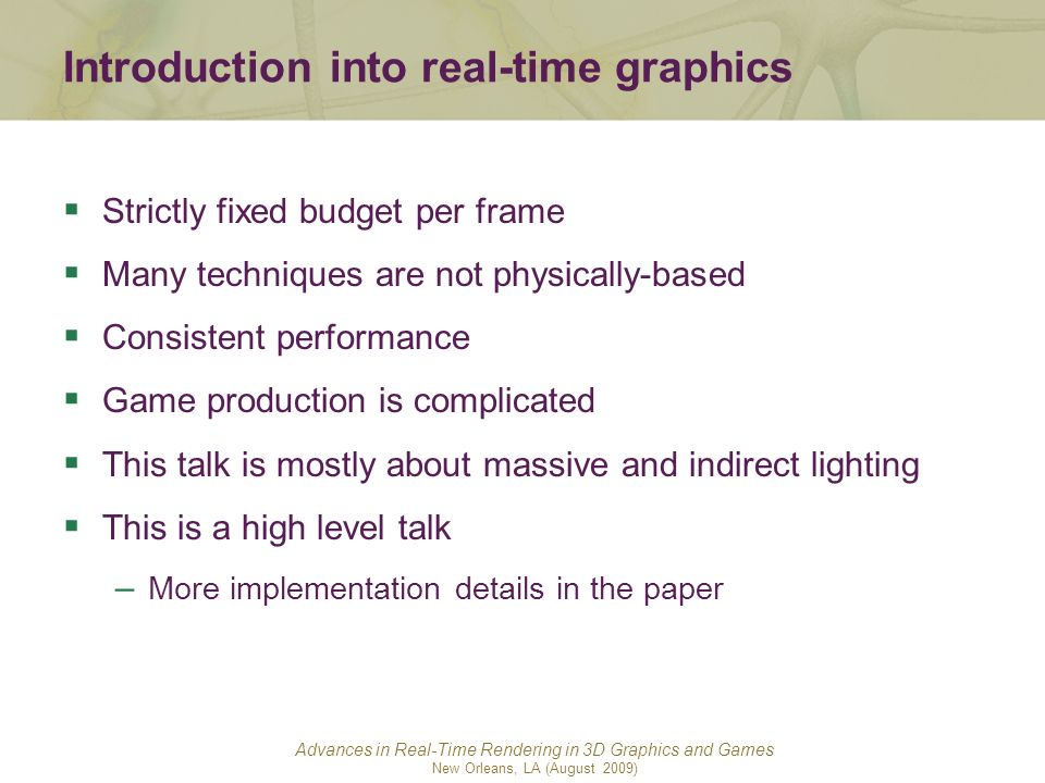 Introduction into real-time graphics