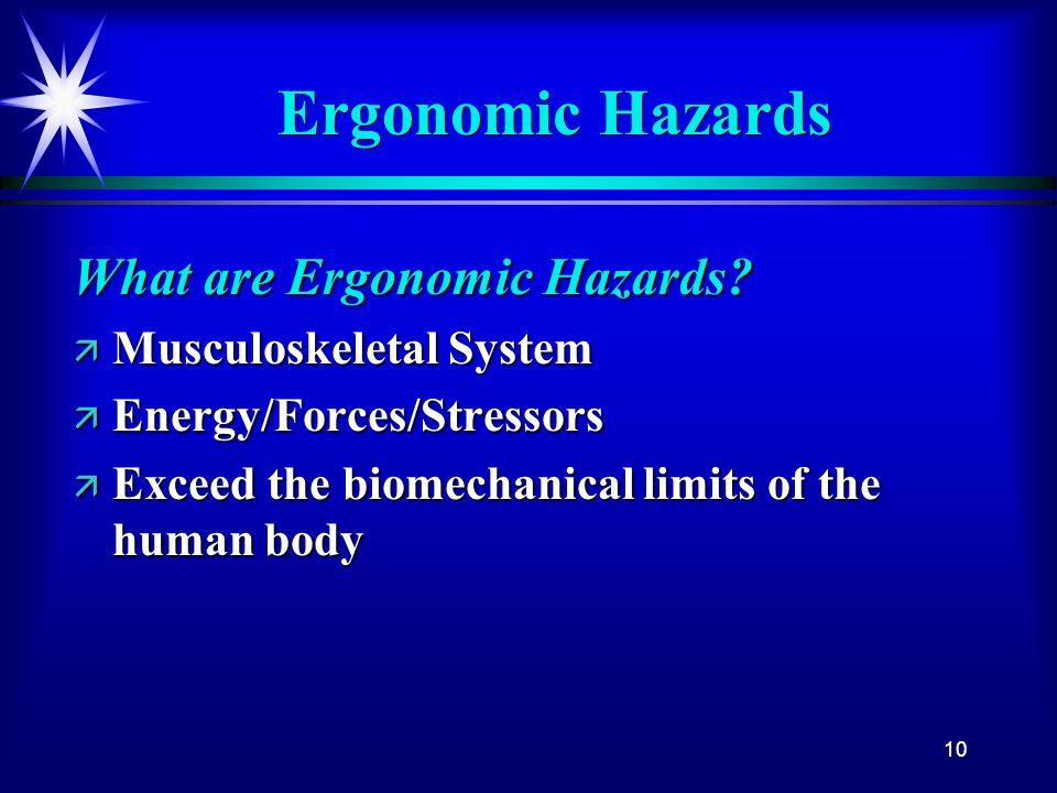 Ergonomic Hazards What are Ergonomic Hazards Musculoskeletal System