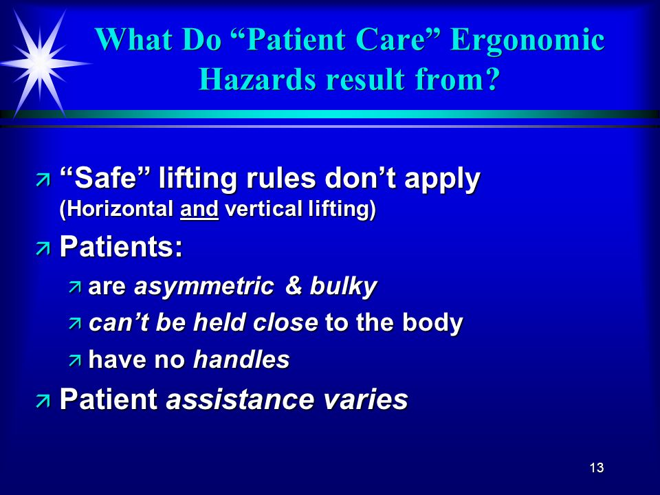 What Do Patient Care Ergonomic Hazards result from