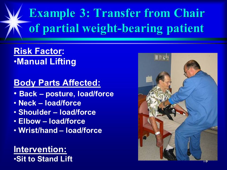 Example 3: Transfer from Chair of partial weight-bearing patient
