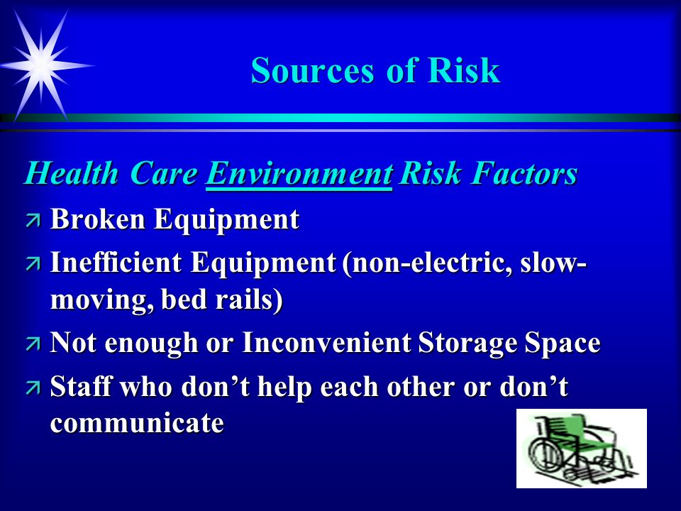 Sources of Risk Health Care Environment Risk Factors Broken Equipment