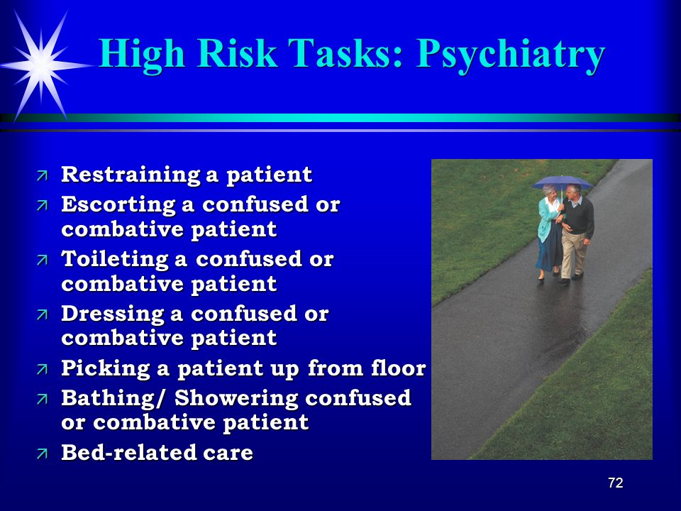 High Risk Tasks: Psychiatry