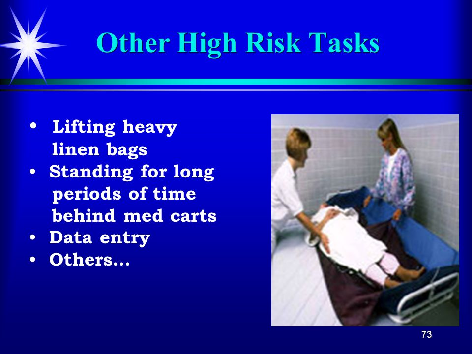 Other High Risk Tasks Lifting heavy linen bags
