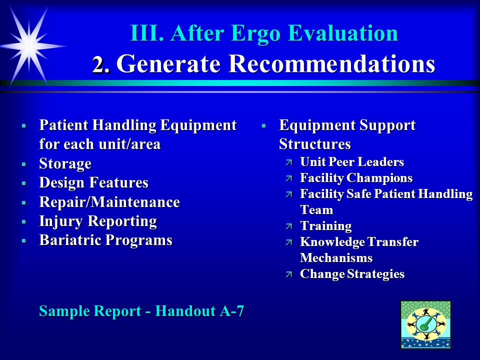 III. After Ergo Evaluation 2. Generate Recommendations