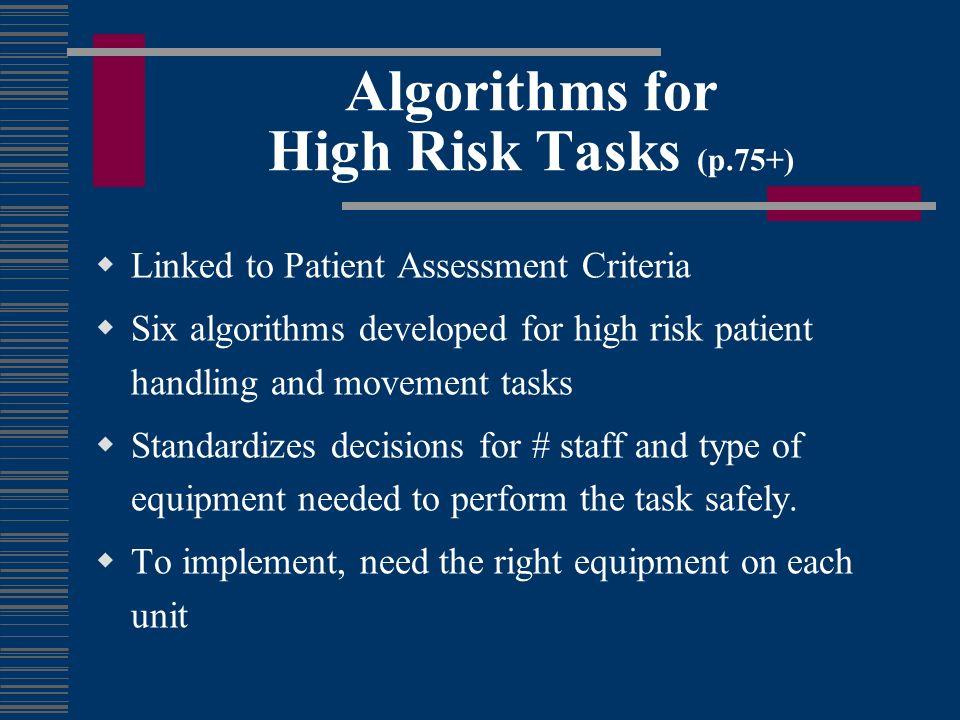 Algorithms for High Risk Tasks (p.75+)