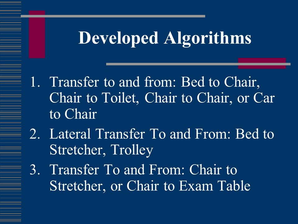 Developed Algorithms Transfer to and from: Bed to Chair, Chair to Toilet, Chair to Chair, or Car to Chair.
