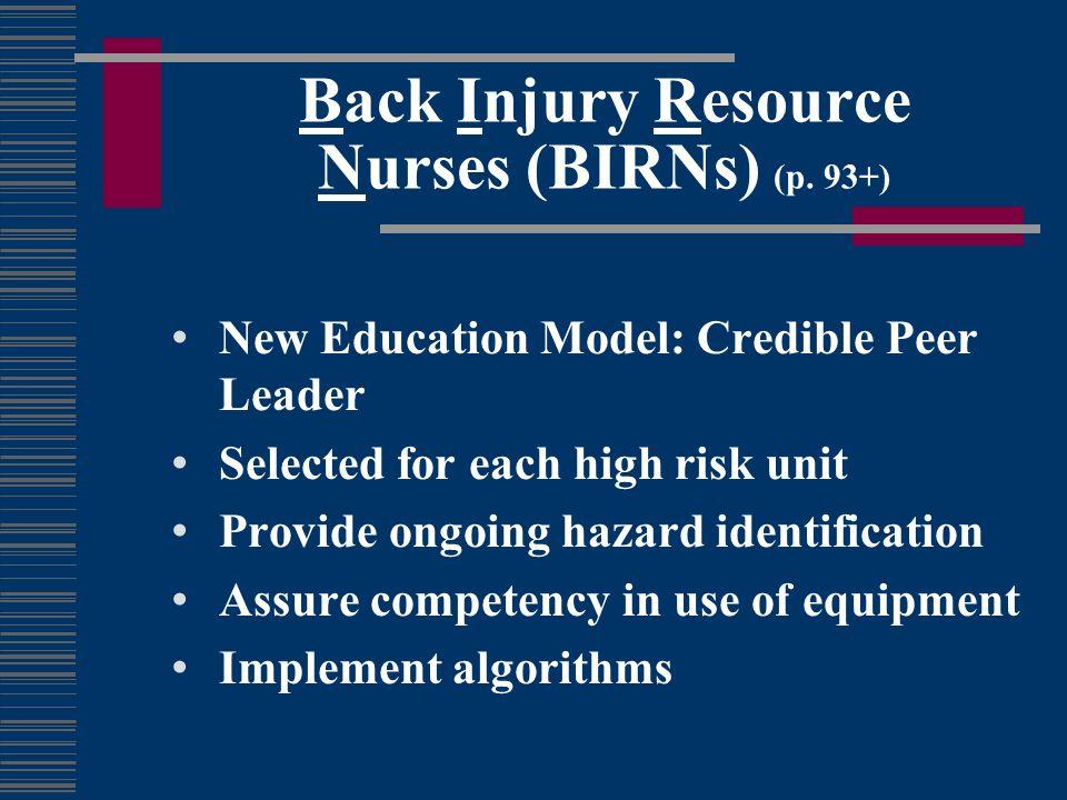 Back Injury Resource Nurses (BIRNs) (p. 93+)