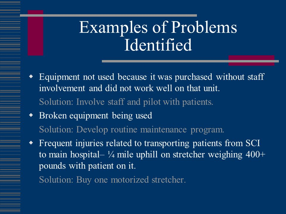 Examples of Problems Identified