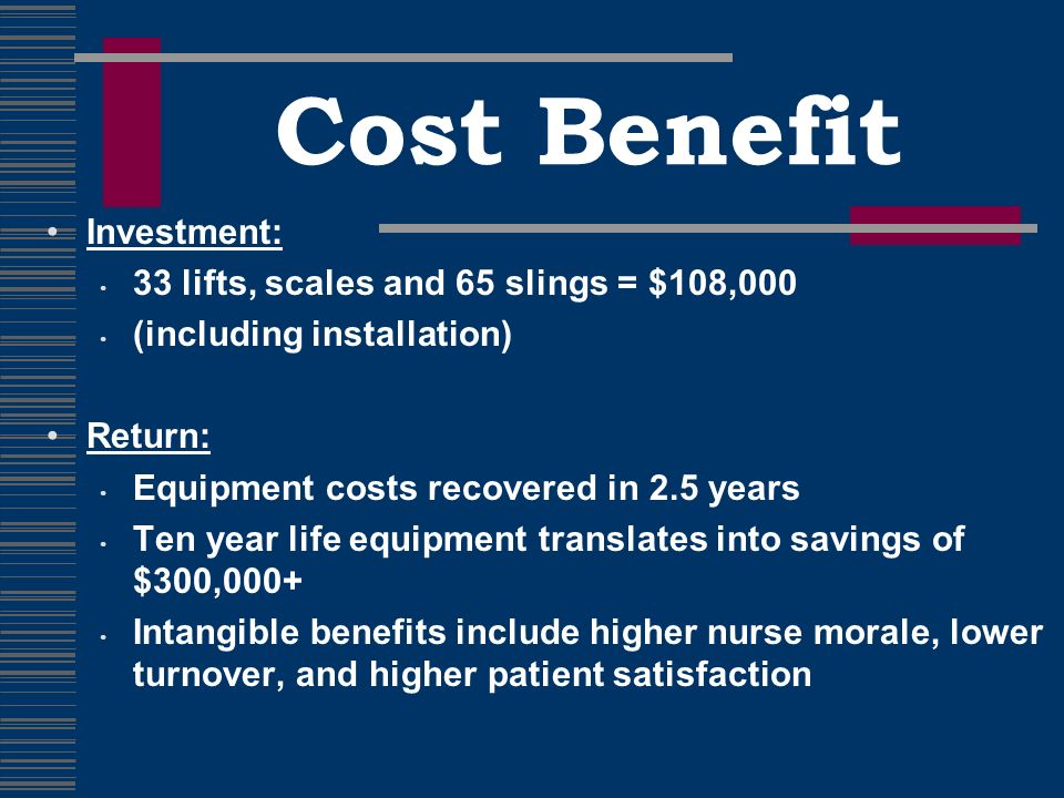 Cost Benefit Investment: 33 lifts, scales and 65 slings = $108,000