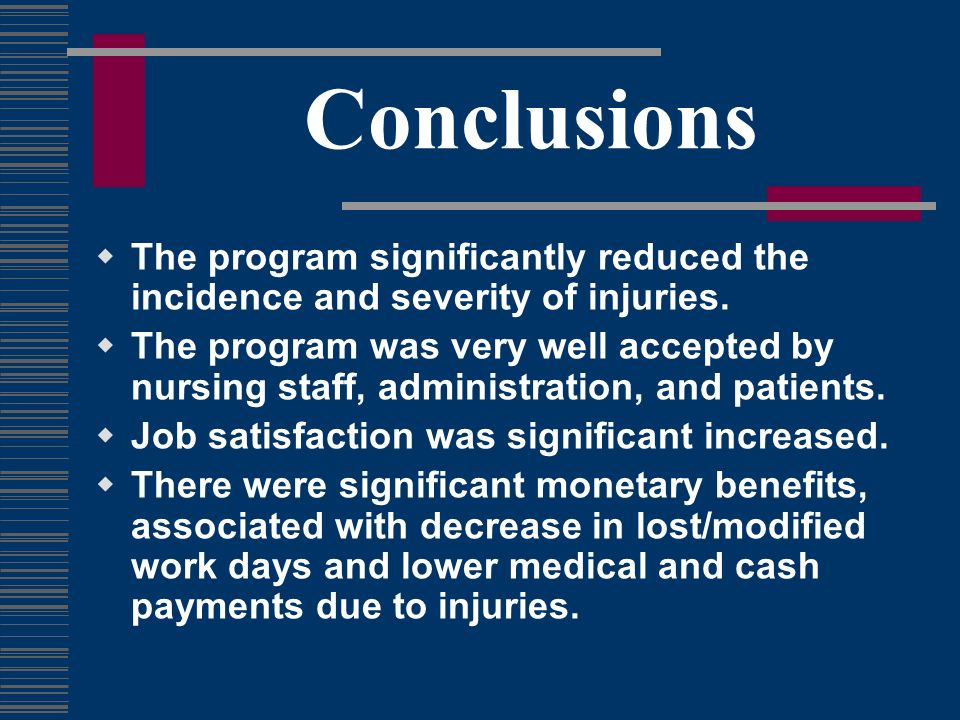 Conclusions The program significantly reduced the incidence and severity of injuries.
