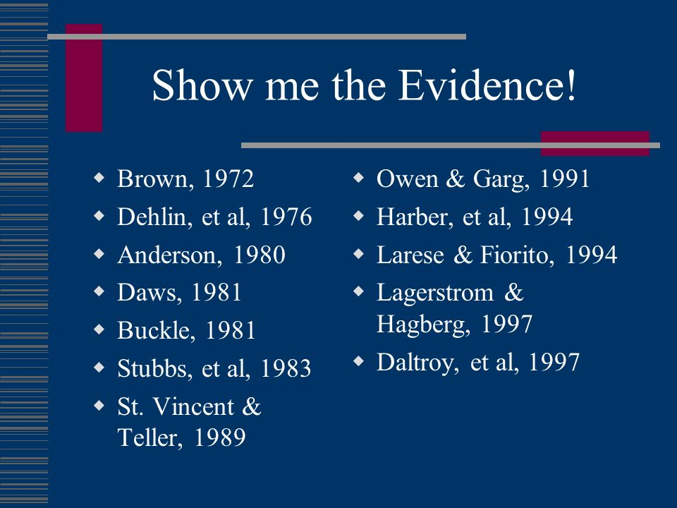 Show me the Evidence! Brown, 1972 Dehlin, et al, 1976 Anderson, 1980