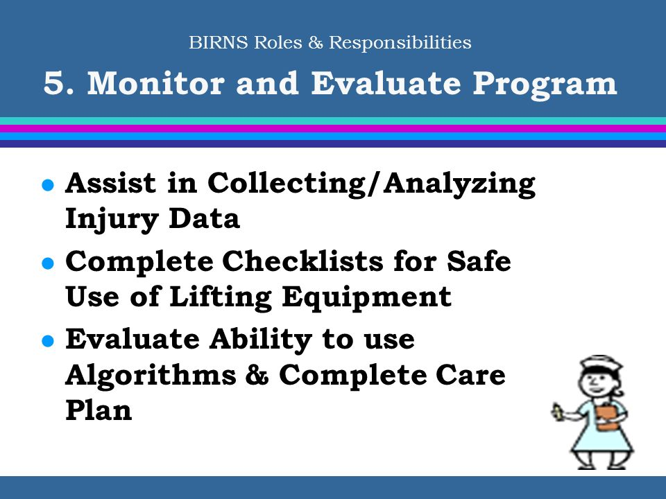 BIRNS Roles & Responsibilities 5. Monitor and Evaluate Program
