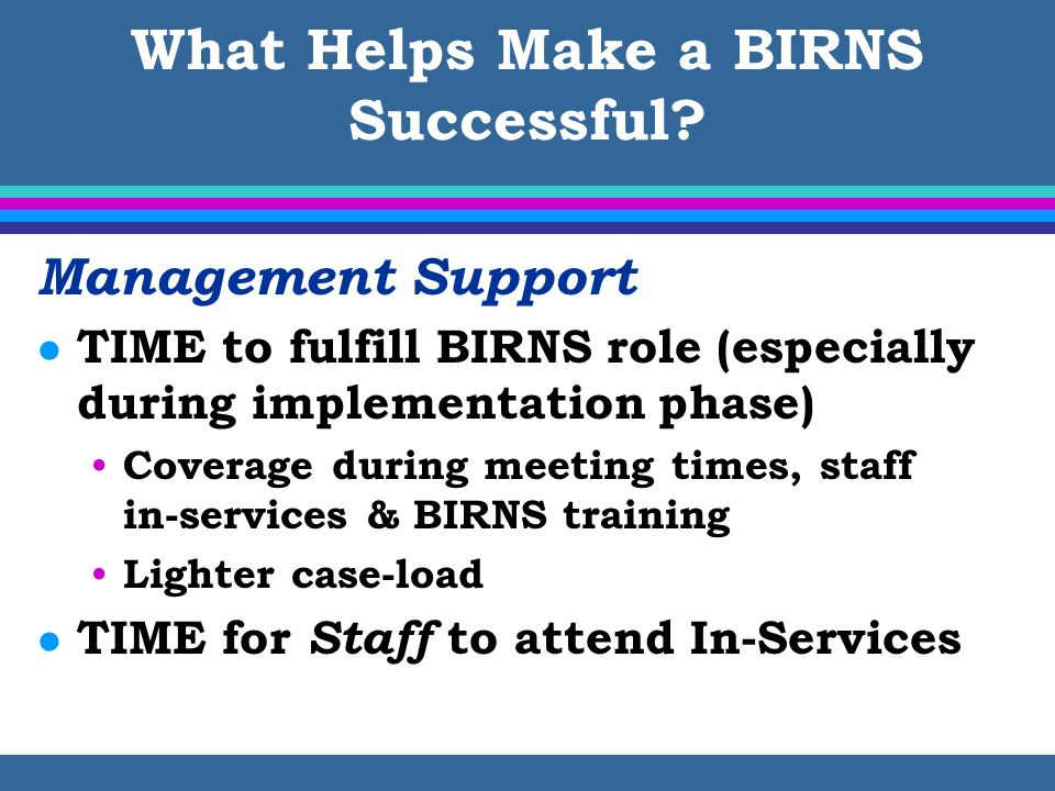 What Helps Make a BIRNS Successful