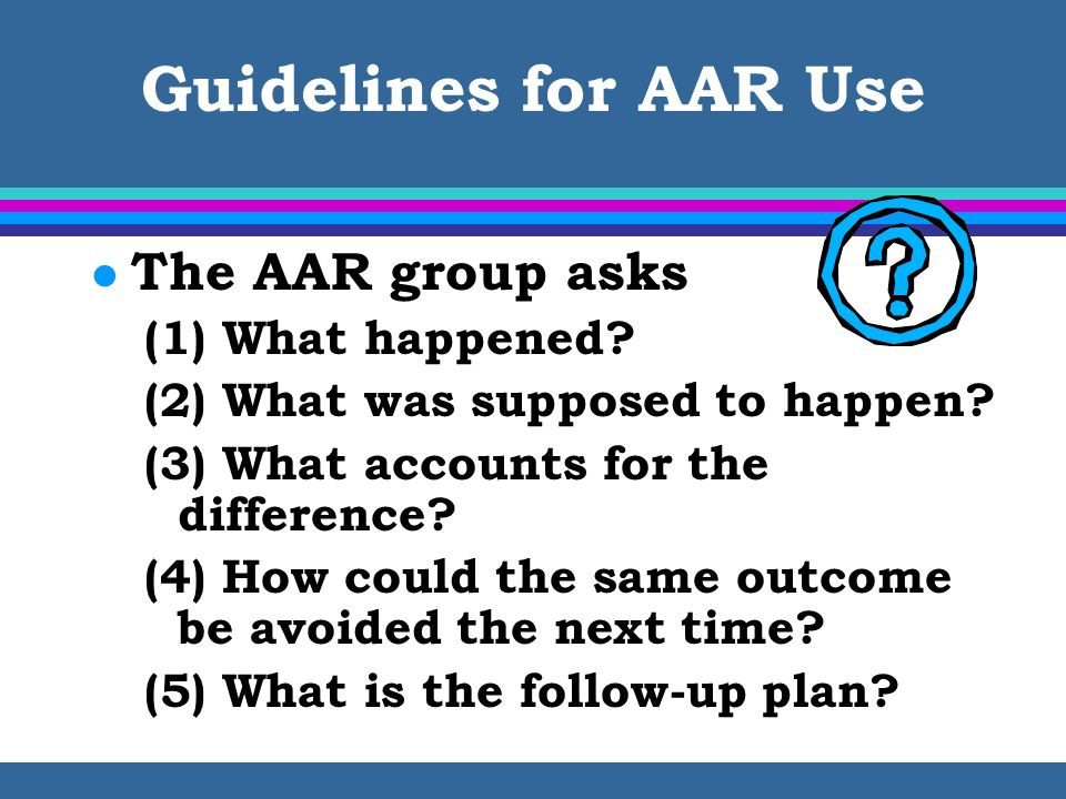 Guidelines for AAR Use The AAR group asks (1) What happened