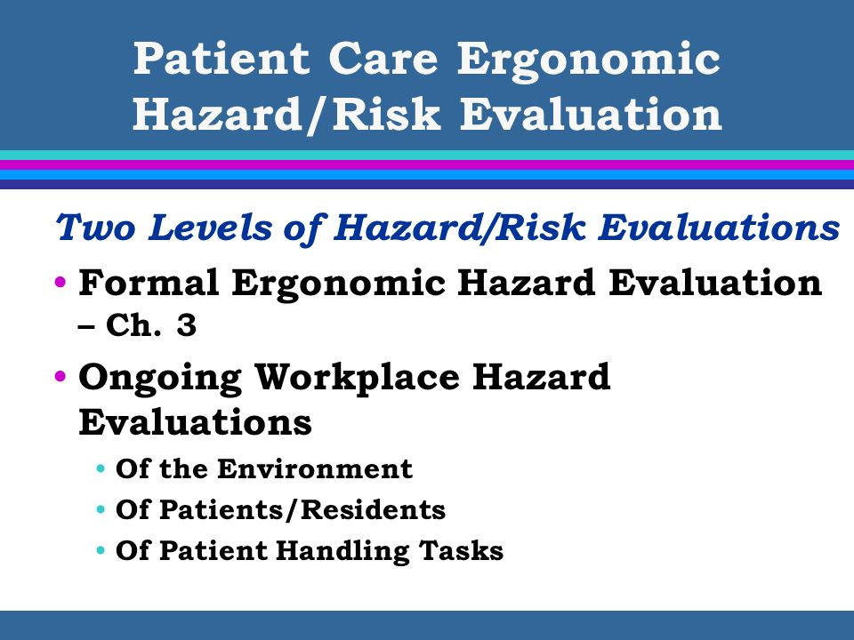 Patient Care Ergonomic Hazard/Risk Evaluation