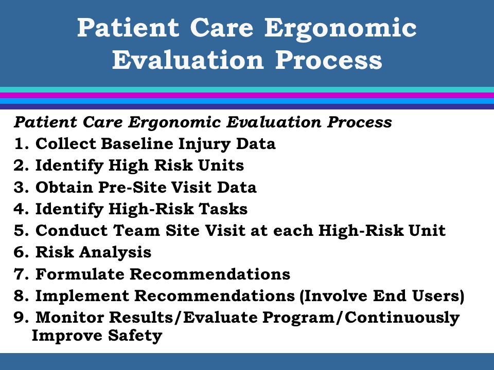 Patient Care Ergonomic Evaluation Process