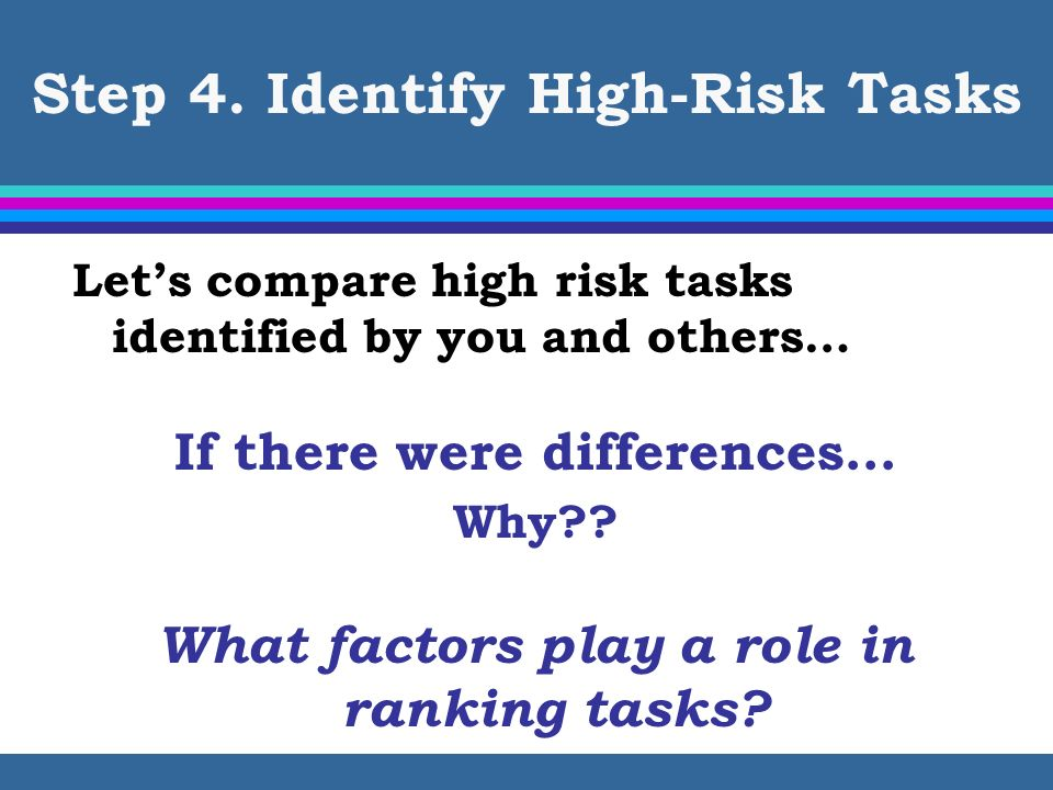 Step 4. Identify High-Risk Tasks