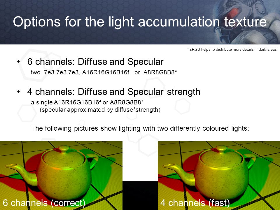 Options for the light accumulation texture