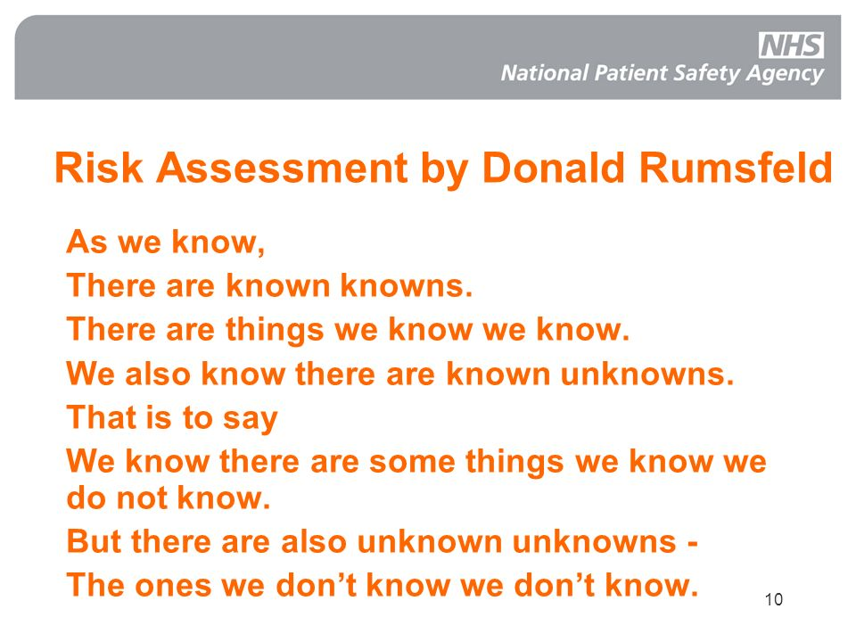 Risk Assessment by Donald Rumsfeld