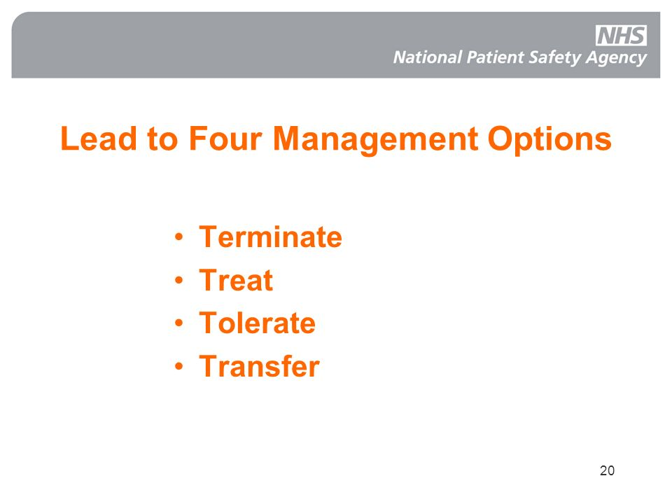 Lead to Four Management Options
