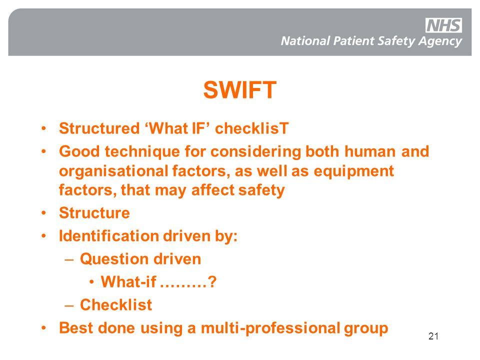 SWIFT Structured 'What IF' checklisT