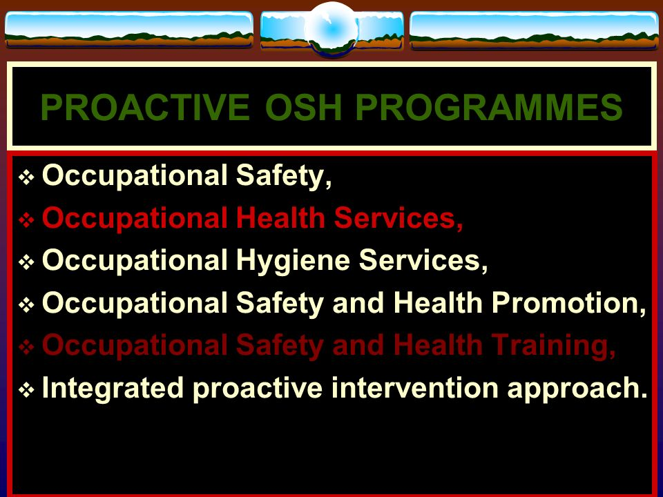 PROACTIVE OSH PROGRAMMES
