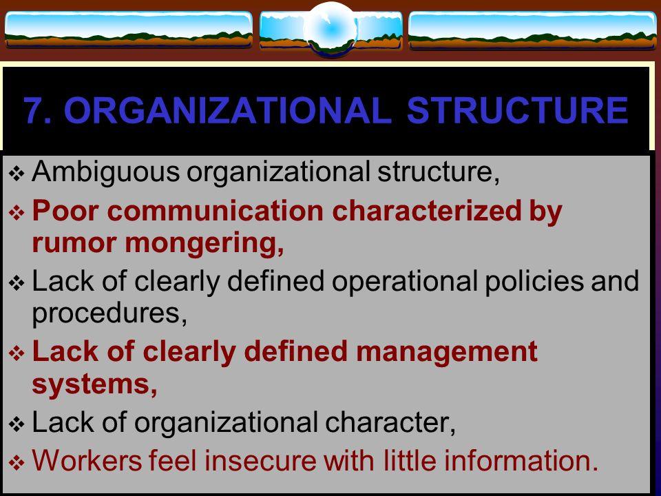7. ORGANIZATIONAL STRUCTURE