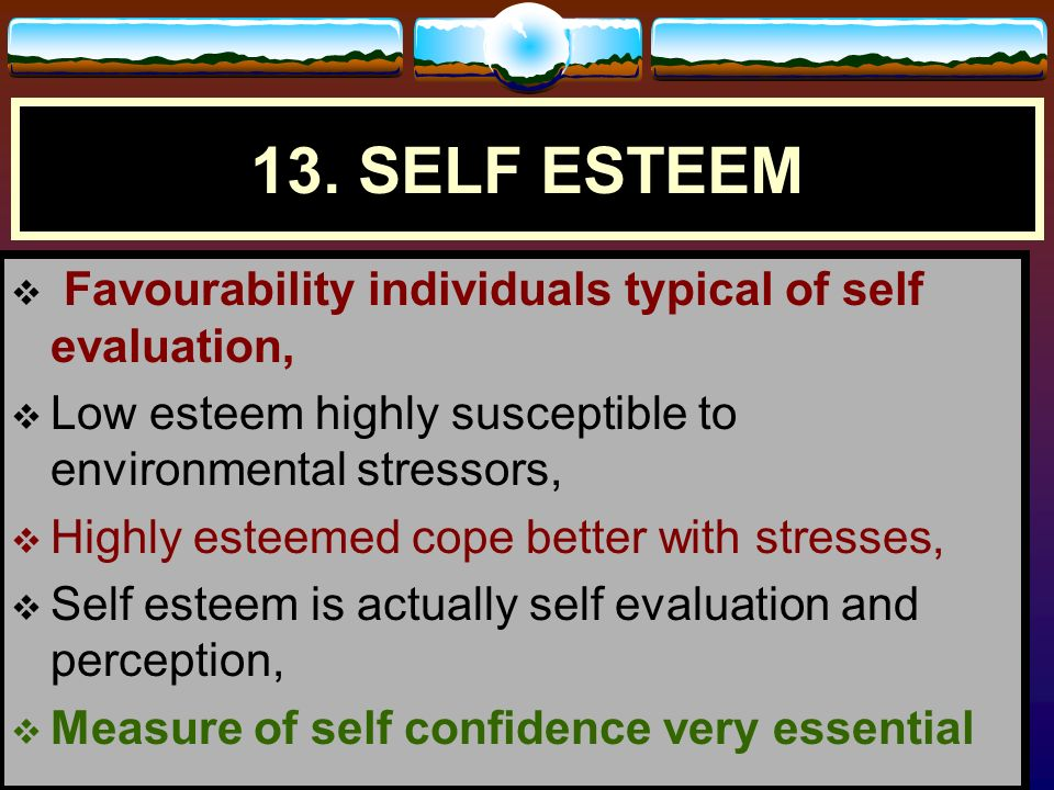13. SELF ESTEEM Favourability individuals typical of self evaluation,