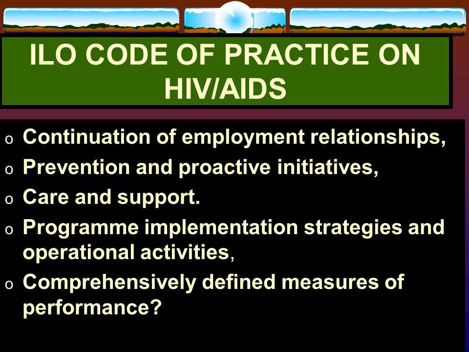 ILO CODE OF PRACTICE ON HIV/AIDS
