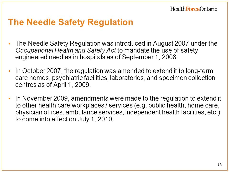 The Needle Safety Regulation