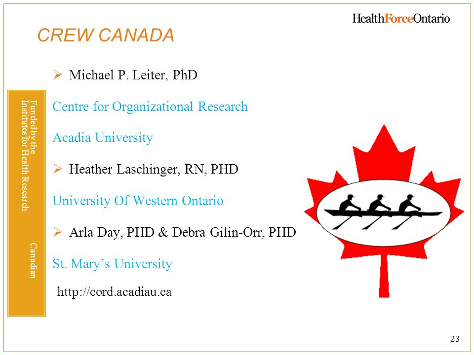 CREW CANADA Michael P. Leiter, PhD Centre for Organizational Research