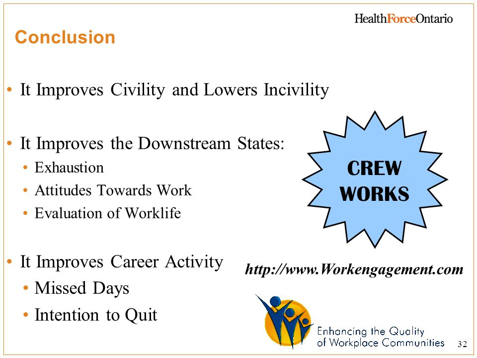 CREW WORKS Conclusion It Improves Civility and Lowers Incivility