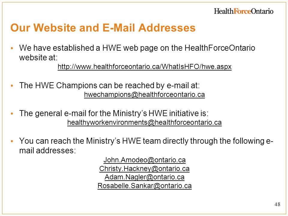 Our Website and E-Mail Addresses