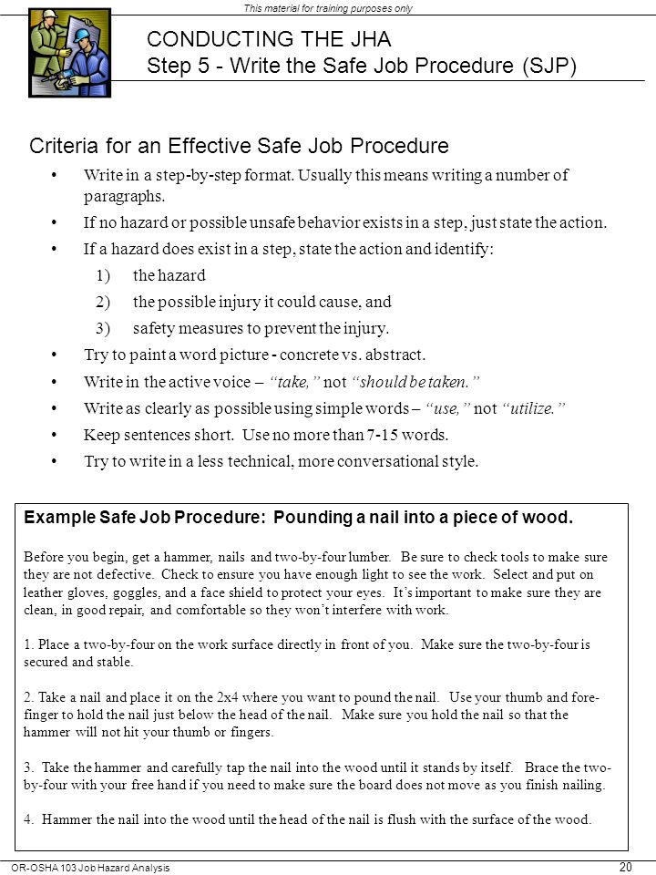 Step 5 - Write the Safe Job Procedure (SJP)