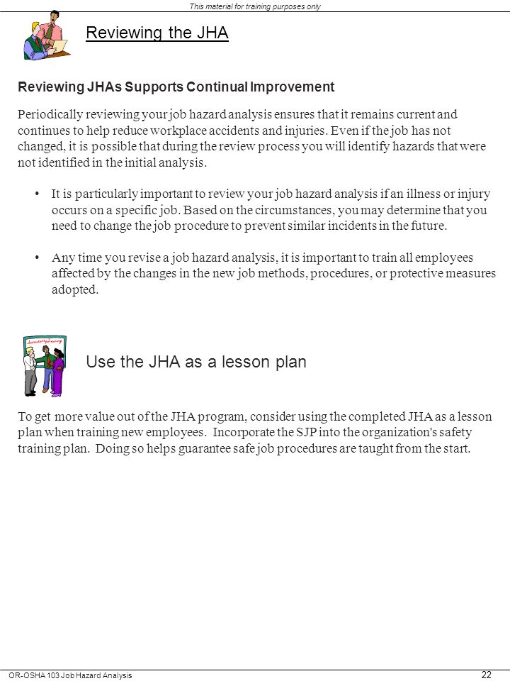 Use the JHA as a lesson plan